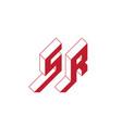 sr - monogram or logotype isometric 3d font for vector image