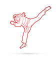 taekwondo jump kick action with guard equipment vector image vector image