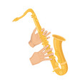 the saxophonist plays the saxophone golden vector image