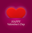 Valentines day greetings card with big red heart vector image