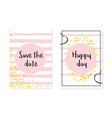 wedding invitation set with dots and sequins vector image vector image