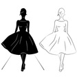 Woman silhouette on the runway vector image vector image