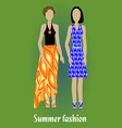 youth summer fashion girl silhouettes in modern vector image vector image