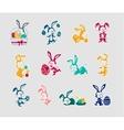 Easter Rabbit Icon Set Design Flat vector image