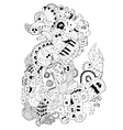 Monster and music cartoon hand-drawn doodle vector image