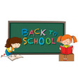 back to school template with girls vector image vector image