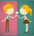 boy and girl one love one heart vector image vector image