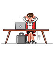 business woman chillin in workplace vector image