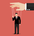 Businessman marionette on ropes vector image vector image