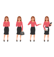 Cartoon Woman Gesture Set vector image