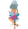 Cartoon woman sitting under blow dryer vector image