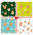 christmas seamless pattern set hand drawn vector image vector image