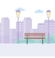 city street urban park bench lamps buildings scene vector image