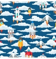 Clouds and space ships seamless pattern vector image vector image