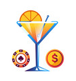 cocktail with orange poker chip and gold coin vector image vector image