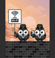 comical free wifi vector image vector image