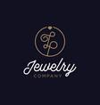 diamond jewelry initial lp logo vector image vector image