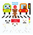 draw squares street traffic animal art kid game vector image vector image