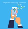 finger print money trasnaction acceptance vector image