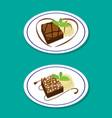 fudge brownie on dish with icecream vector image