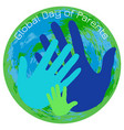 global day of parents planet earth palms of the vector image