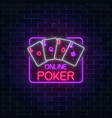 glowing neon sign of online poker application in vector image vector image