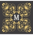 gold monogram frame with letter m on dark vector image vector image