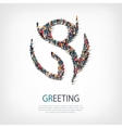 greeting people sign 3d vector image