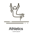 Gymnastics athlete at rings doing exercise sport vector image