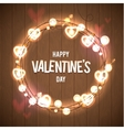 Happy Valentine s Day Wood Card Pink Bokeh vector image vector image