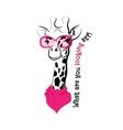 head giraffe sketch glasses scarf vector image