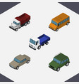 isometric automobile set of auto lorry armored vector image vector image
