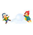 kids children making snowballs for huge snowman vector image