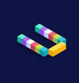 letter u isometric colorful cubes 3d design