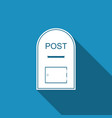 mail box icon post box icon with long shadow vector image vector image