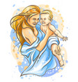 mother with bahand-drawn color sketch vector image