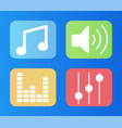 music signs settings and sound loudspeaker set vector image