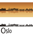 Oslo skyline in orange background vector image