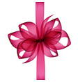 pink transparent bow and ribbon top view vector image vector image