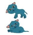 Sad blue kitty cartoon animation vector image vector image