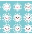 seamless pattern Kawaii snowflake set white funny vector image vector image