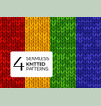 seamless set knitted patterns in bright saturated vector image vector image