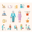 Senior Lifestyle Flat Icons vector image vector image