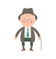 Senior Man in Suit with Walking Stick vector image vector image
