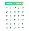 set of 30 line icons education vector image