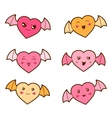 Set of kawaii hearts with different facial vector image vector image
