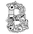 single english alphabet doodle vector image vector image