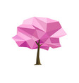 spring concept pink tree formed by triangles vector image vector image