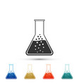 test tube and flask chemical laboratory test icon vector image vector image