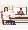 video conference on internet afroamerican man vector image vector image